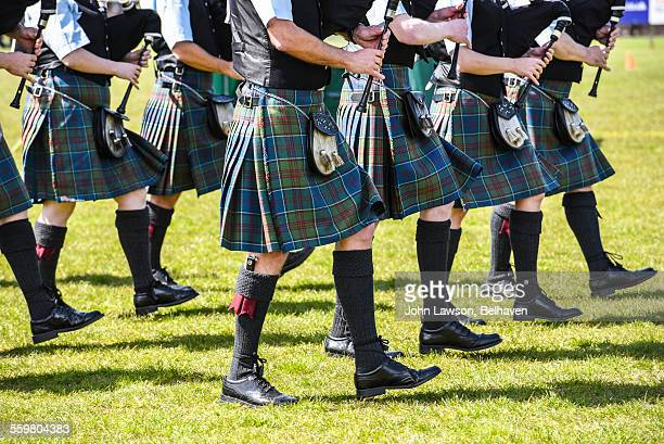 scottish bagpipers and kilts - scottish culture stock pictures, royalty-free photos & images