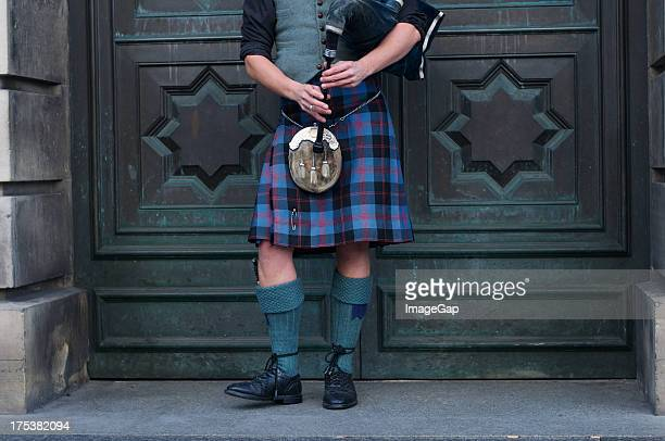 scottish bagpipes - kilt stock photos and pictures