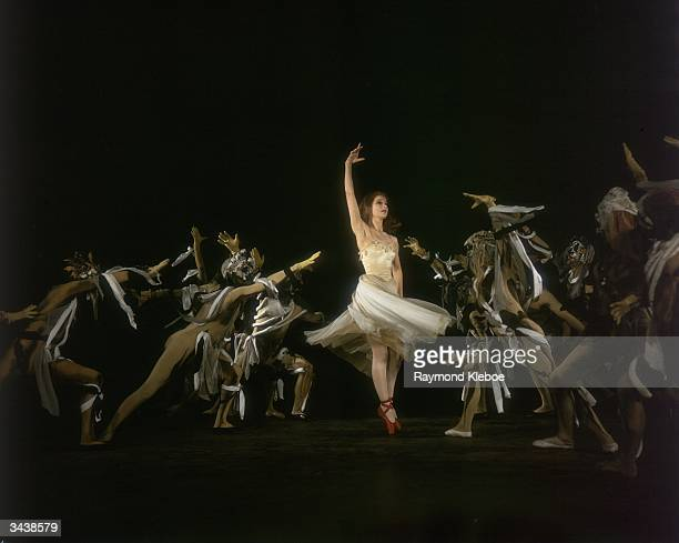 Scottish ballerina Moira Shearer performs a macabre ballet sequence from the film 'The Red Shoes' directed by Michael Powell and Emeric Pressburger...