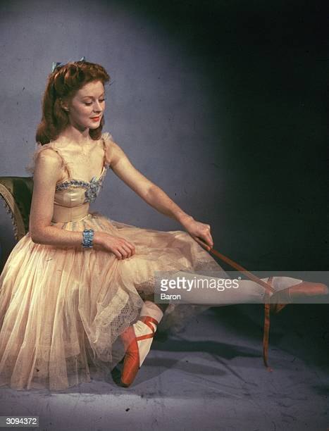 Scottish ballerina Moira Shearer plays dancer Victoria Page in the classic film 'The Red Shoes', directed by Michael Powell and Emeric Pressburger...