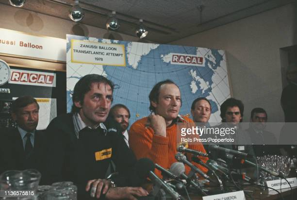 Scottish balloonist Don Cameron and his fellow pilot Christopher Davey pictured together at a press conference following their attempt to cross the...