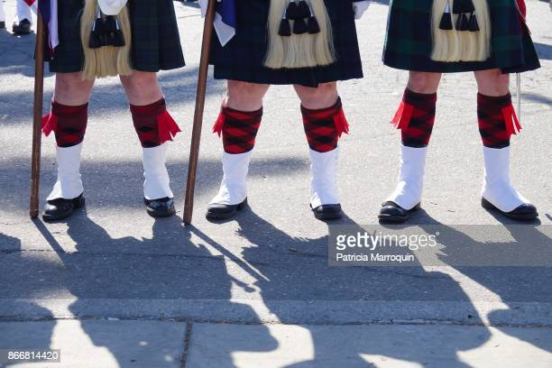 3 scottish band members wearing kilts - kilt stock photos and pictures