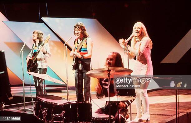 Scottish band Middle of the Road perform on Top Of The Pops London LR Eric McCredie Ian McCredie Ken Andrew Sally Carr