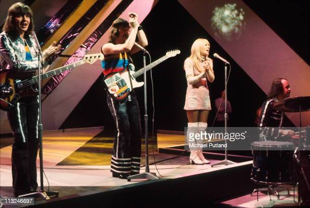 Scottish band Middle of the Road perform on Top Of The Pops London LR Eric McCredie Ian McCredie Sally Carr Ken Andrew