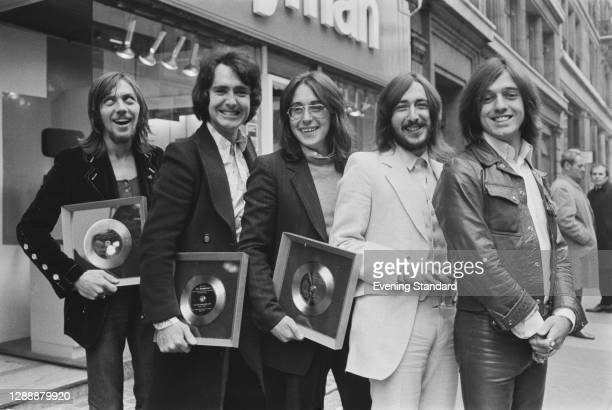 Scottish beat pop group Marmalade, UK, November 1971. From left to right, they are frontman Dean Ford, bass players Pat Fairley and Graham Knight,...