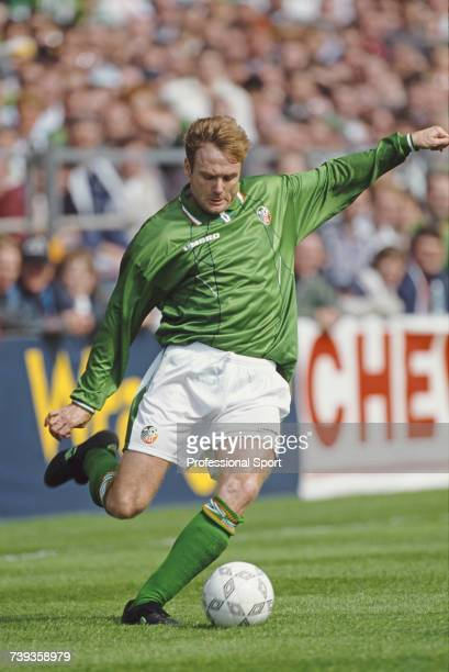 Scottish born footballer and forward with the Republic of Ireland national football team Tommy Coyne pictured in action for the Republic of Ireland...