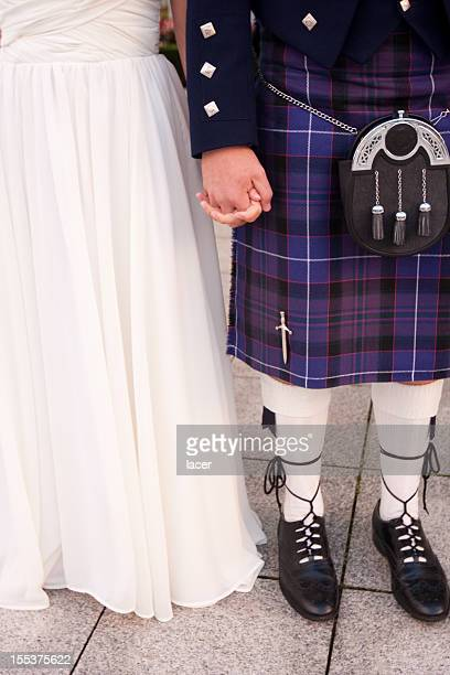 scottish bride and groom - kilt stock photos and pictures
