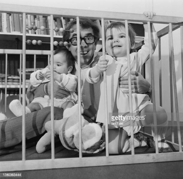 Scottish comedian Ronnie Corbett with his daughters Sophie and Emma, January 1969.