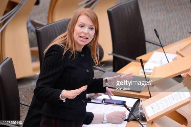 Scottish Community Safety minister Ash Denham speaking during Topical Questions in the Scottish Parliament where she faced questions on providing...