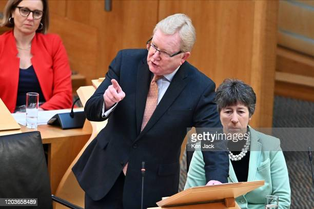 Scottish Conservative leader Jackson Carlaw during First Minister's Questions in the Scottish Parliament on February 27 2020 in Edinburgh Scotland