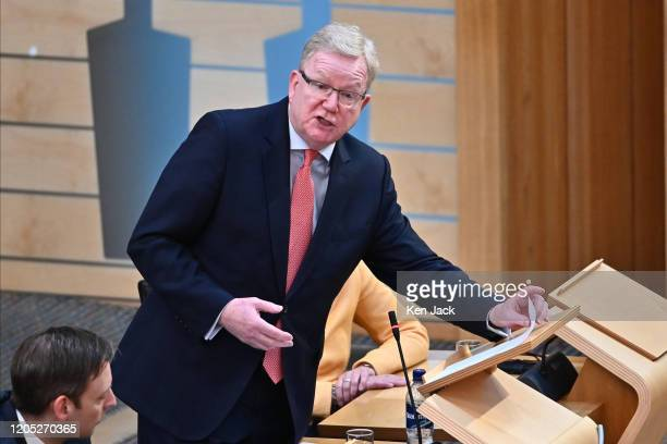 Scottish Conservative leader Jackson Carlaw during First Minister's Questions in the Scottish Parliament on March 5 2020 in Edinburgh Scotland