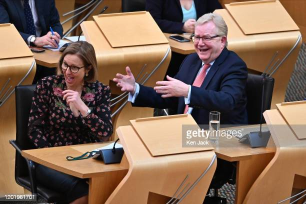 Scottish Conservative leader Jackson Carlaw reacts to First Minister Nicola Sturgeon during his first First Minister's Questions in the Scottish...