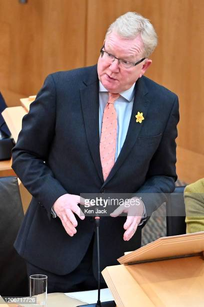 Scottish Conservative leader Jackson Carlaw speaking during First Minister's Questions in the Scottish Parliament on March 12 2020 in Edinburgh...