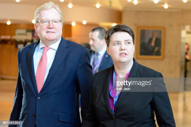 Scottish Conservative leader Ruth Davidson and her deputy Jackson Carlaw on the way to First Minister's Questions in the Scottish Parliament on April...