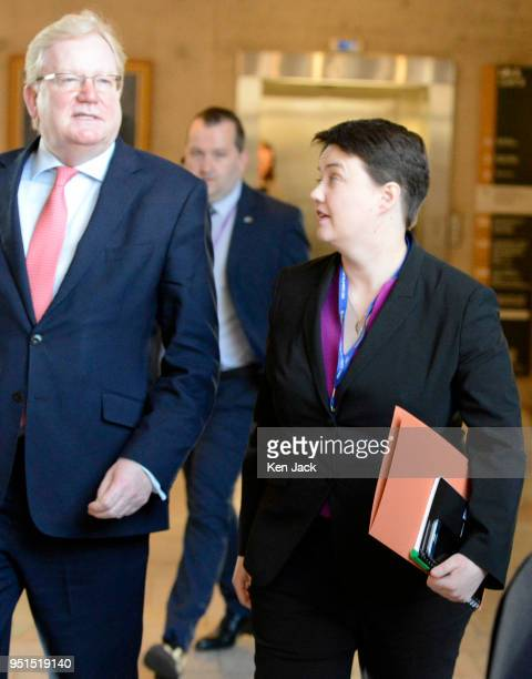 Scottish Conservative leader Ruth Davidson and her deputy Jackson Carlaw on the way to First Minister's Questions on the day that Davidson announced...