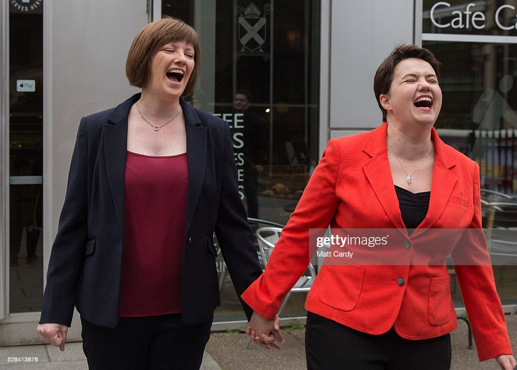 Scottish Conservative Leader Ruth Davidson (R) and her partner Jen Wilson leave St Mary's Parish Church after voting in the Scottish Parliament elections on May 5, 2016 in Edinburgh, Scotland. Today, dubbed 'Super Thursday', sees the British public vote in countrywide elections to choose members for the Scottish Parliament, the Welsh Assembly, the Northern Ireland Assembly, Local Councils, a new London Mayor and Police and Crime Commissioners. There are around 45 million registered voters in the UK and polling stations open from 7am until 10pm.