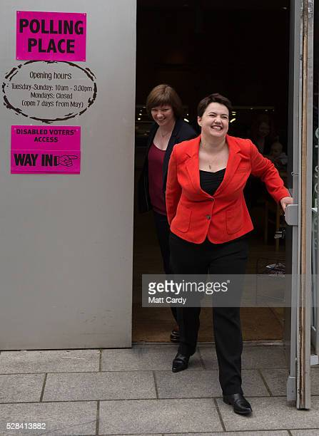 Scottish Conservative Leader Ruth Davidson and her partner Jen Wilson leave St Mary's Parish Church after voting in the Scottish Parliament elections...
