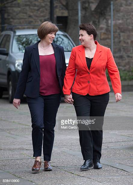 Scottish Conservative Leader Ruth Davidson and her partner Jen Wilson arrive at St Mary's Parish Church to vote in the Scottish Parliament elections...
