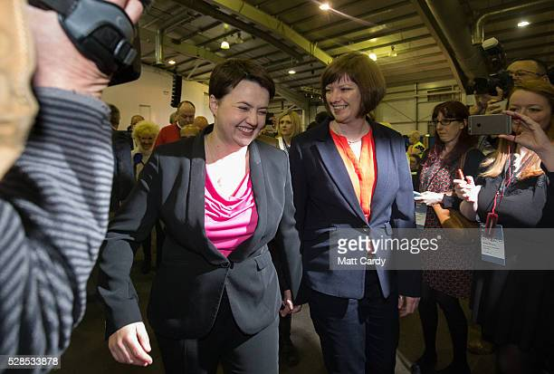 Scottish Conservative Leader Ruth Davidson and her partner Jen Wilson arrives to hear the declaration for her seat at the Royal Highland Centre...