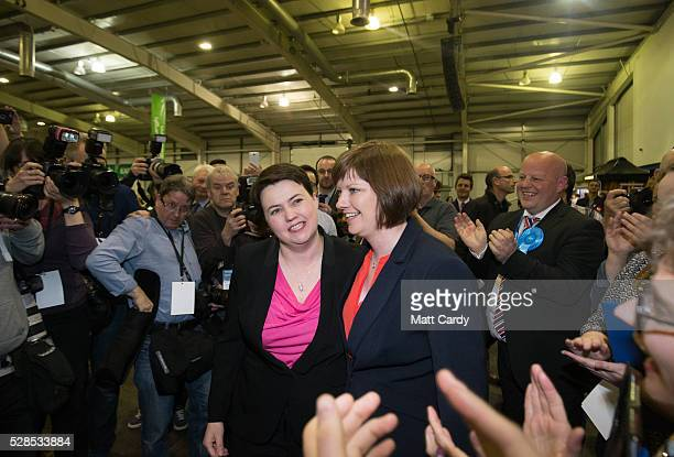 Scottish Conservative Leader Ruth Davidson and her partner Jen Wilson arrive to hear the declaration for her seat at the Royal Highland Centre...
