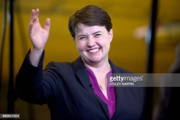 Scottish Conservative leader Ruth Davidson arrives at the Meadowbank Sports Centre counting centre in Edinburgh Scotland on June 9 hours after the...