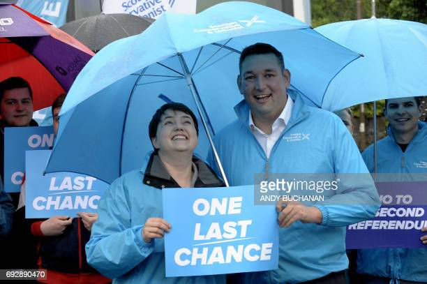 Scottish Conservative leader, Ruth Davidson, , is accompanied by Edinburgh South West constituency candidate, Miles Briggs, as she campaigns ahead of...