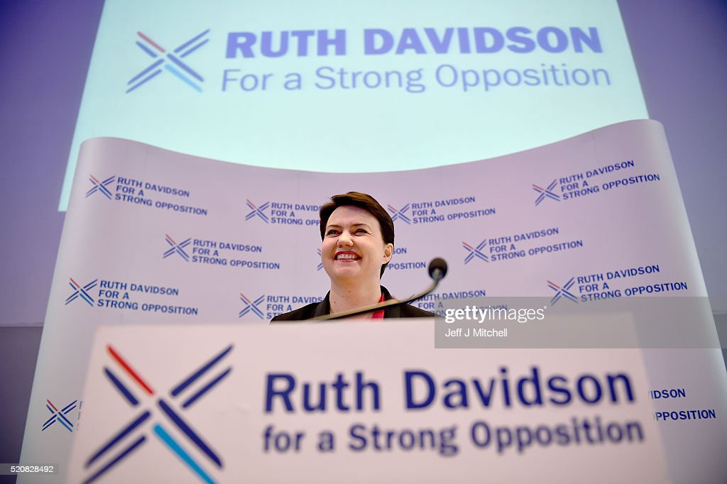 Scottish Conservative Leader, Ruth Davidson launches the partys Holyrood Election Manifesto on April 13, 2016 in Glasgow, Scotland. Their manifesto contains plans to build 100,000 new affordable homes over Scotland in the next five years, has pledged £1bn to improve energy efficiency in homes as well as their commitment to ensure taxes in Scotland are no higher than anywhere else in the UK. They have also pledged to provide a strong opposition to the SNP and are hoping to replace Labour as Holyroods main opposition party as polls suggest that the SNP will win a third term in government at the May 5 elections.