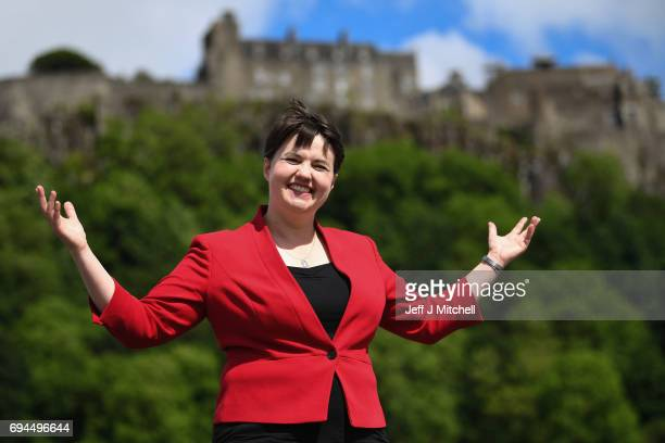 Scottish Conservative leader Ruth Davidson poses following meeting with her newly elected members of parliament with the backdrop of Stilling Castle...