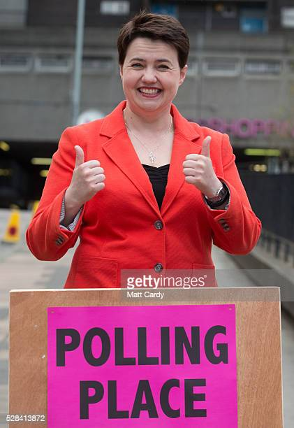 Scottish Conservative Leader Ruth Davidson poses for a picture outside St Mary's Parish Church after voting in the Scottish Parliament elections on...