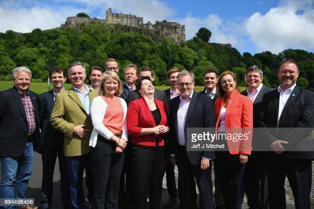 Scottish Conservative leader Ruth Davidson poses with the newly elected members of parliament with the backdrop of Stilling Castle on June 10 2017 in...