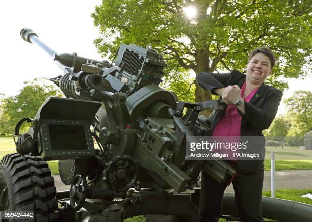Scottish Conservative leader Ruth Davidson pulls the lever to empty the barrel of The Royal Artillery gun, before firing it to signal the start of...
