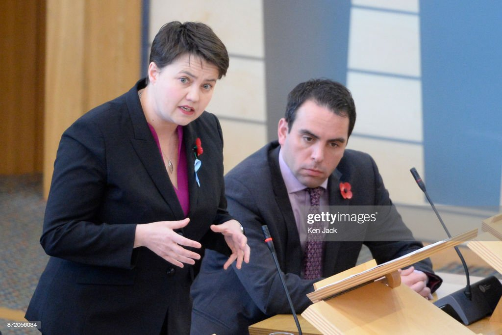Scottish Conservative leader Ruth Davidson speaking during First Minister's Questions in the Scottish Parliament, on November 9, 2017 in Edinburgh, Scotland.