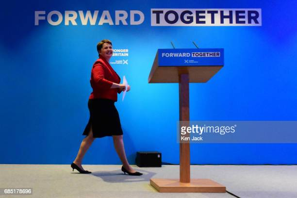Scottish Conservative leader Ruth Davidson takes the stage for the launch of the Scottish Conservative Party general election manifesto on May 19...