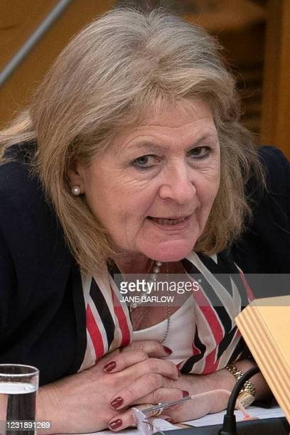 Scottish Conservative Margaret Mitchell attends the debate on the motion of no confidence against Scotland's First Minister Nicola Sturgeon, in the...