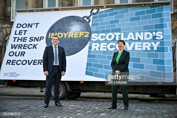 Scottish Conservative Party leader Douglas Ross and former leader Ruth Davidson attend the launch of the Conservatives party list vote campaign with...