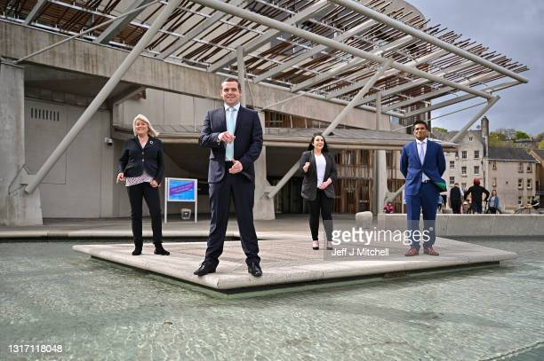 Scottish Conservative party leader Douglas Ross poses for a photograph with some newly elected MSPs Sue Webber , Meghan Gallagher and Sandesh Gulhane...
