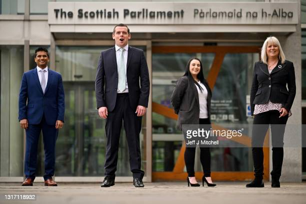 Scottish Conservative party leader Douglas Ross poses for a photograph with some newly elected MSPs Sandesh Gulhane , Meghan Gallagher and Sue Webber...