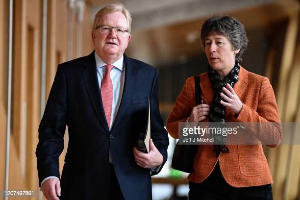 Scottish Conservative party leader Jackson Carlaw and Liz Smith attend First Minister's Questions at the Scottish Parliament on February 20 2020 in...