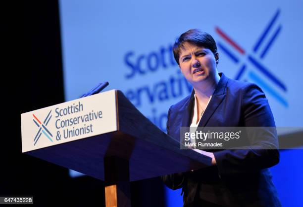 Scottish Conservative Party leader Ruth Davidson introduces Prime Minister Theresa May as she speaks to delegates during the Scottish Conservatives...