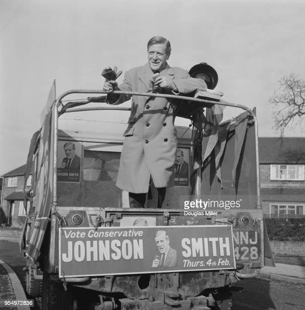 Scottish Conservative politician Geoffrey JohnsonSmith canvassing from his Land Rover during the East Grinstead byelection 2nd February 1965