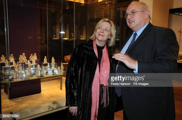 Scottish Culture Minister Linda Fabiani and Deputy Director of the British Museum, Andrew Burnett beside the Lewis Chessmen, a set of 13th century...