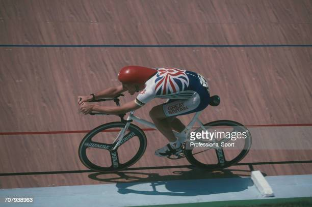Scottish cyclist Graeme Obree pictured in action for Great Britain during competition in the Men's Individual Pursuit Cycling event at the 1996...