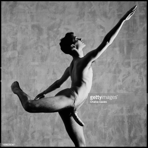 Scottish dancer and choreographer Michael Clark posing naked but for a penis sheath London 1984