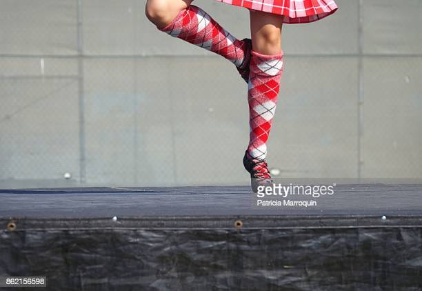 scottish dancing footwork - kilt stock photos and pictures
