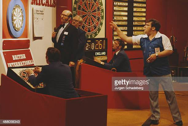 Scottish darts player Jocky Wilson competes at the British International Championship UK circa 1985