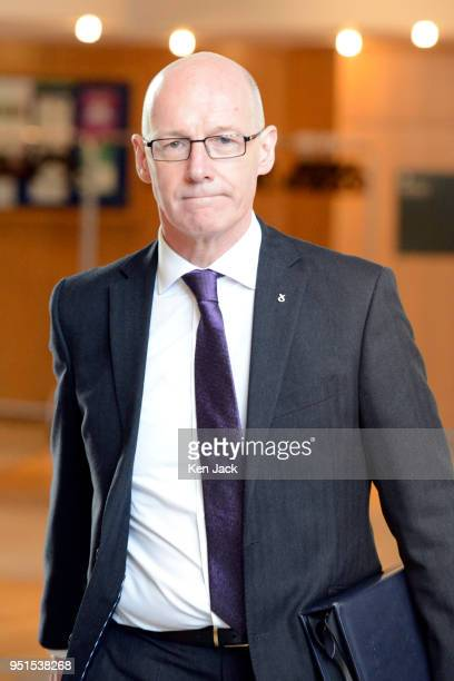 Scottish Deputy First Minister John Swinney on the way to First Minister's Questions in the Scottish Parliament on April 26 2018 in Edinburgh Scotland