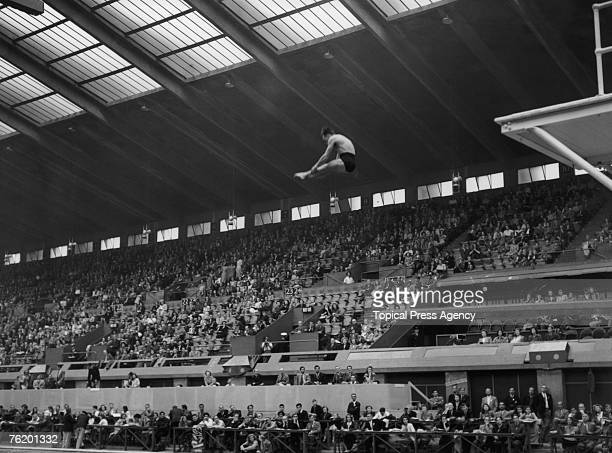 Scottish diver Peter Heatly of Great Britain competing in the Men's Highboard Diving event at the Empire Pool Wembley during the London Olympics 5th...