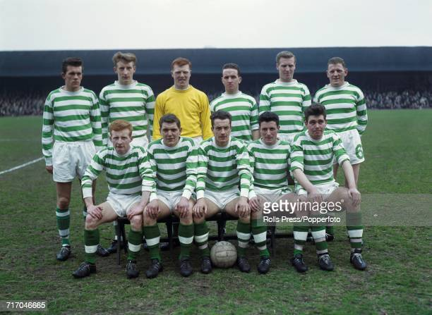 Scottish Division One team Celtic FC 1963-64 squad members pictured together at Tynecastle Stadium prior to their match against Heart of Midlothian...