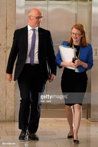 Scottish Education Secretary John Swinney and Higher Education Minister ShirleyAnne Somerville on the way to a Scottish Conservative debate on...