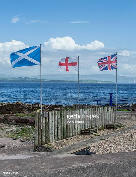 Scottish, English and UK Flags Together, Bute
